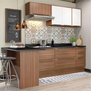 Cozinha Completa Multimóveis com 7 peças Calábria 5455R Nogueira/Branco