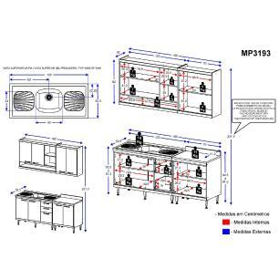 Cozinha Compacta com Pia Inox 5 peças Sicília Multimóveis MP3193 Madeirado