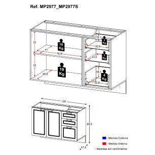 Balcão multiuso para piá suspenso / espaço Gourmet Karev Multimóveis Branco