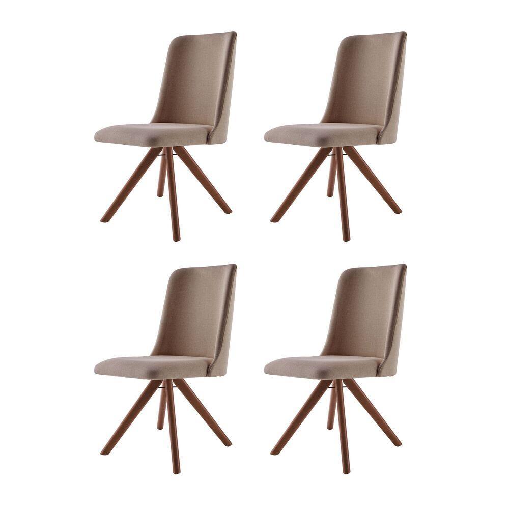 Conjunto de 04 Cadeiras de Jantar Giratória Arrezo Café com Leite 1777 Base Madeira cor Imbuia