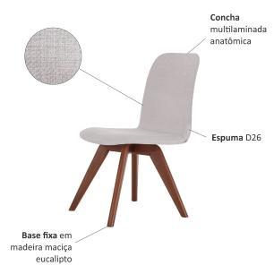 Cadeira de Jantar Fixa Bari Bege Claro 4612 Base Madeira cor Imbuia
