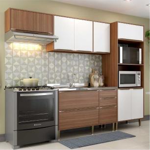 Cozinha Compacta Multimóveis com 4 peças Calábria 5457 Nogueira/Branco