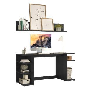 Escrivaninha e Prateleira Mesa Escritório Office Multimóveis Preta
