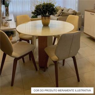 Cadeira de Jantar Fixa Sicilia Bege Escuro 4613 Base Madeira cor Imbuia