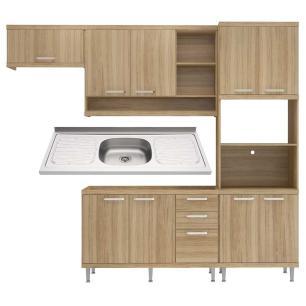 Cozinha Compacta com Pia Inox 5 peças Sicília Multimóveis MP3187 Madeirado