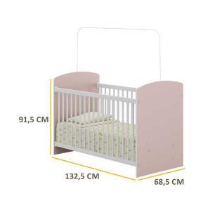 Berço Infantil Multimóveis 0515 Rosa/Br p/Colchão 130cmx60cm