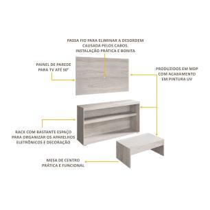 Rack com painel para TV até 50 polegadas e mesa de centro Bragança Multimóveis Carvalle