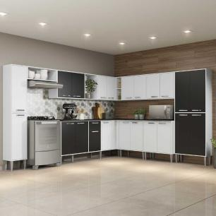 Cozinha Completa com Armário e Balcão com Tampo 11 peças Xangai Pop Multimóveis Branca/Preta
