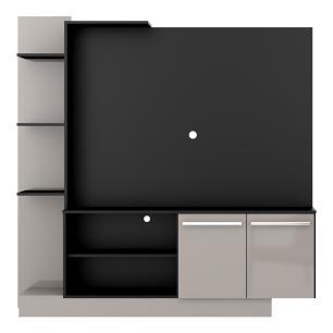 Estante com painel para TV até 55 polegadas e 2 portas Porto Multimóveis Preto/Lacca Fumê