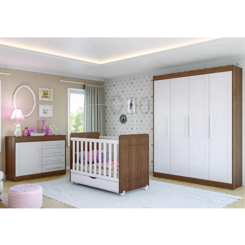 Quarto Completo Infantil Artur Multimóveis Carvalho/Branco com Berço mini cama + Guarda roupa 4 portas + cômoda 1 Porta e 4 Gavetas