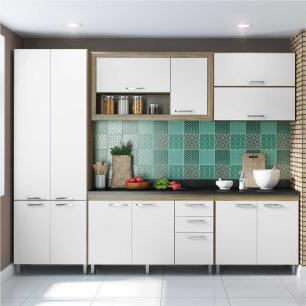 Cozinha Compacta Multimóveis Toscana  Balcão com tampo Preto - 12 Portas