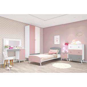 Quarto Completo Doçura com cama e penteadeira com espelho 100% MDF Multimóveis Branco/cinza/rosa
