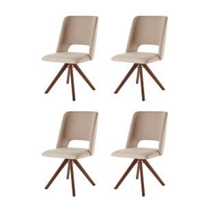 Conjunto de 04 Cadeiras de Jantar Giratória Parma Bege Escuro 4613 Base Madeira cor Imbuia
