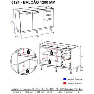 Balcão Multimóveis Sicília 120cm para pia 5124 Argila/Branco