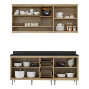 Cozinha Compacta Completa Multimóveis com 4 peças Sicília 5819 Argila/Argila