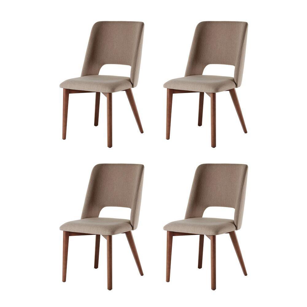 Conjunto de 04 Cadeiras de Jantar Fixa Parma Café com Leite 1777 Base Madeira cor Imbuia