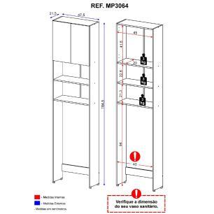 Armário de Banheiro para Vaso Sanitário com 2 portas Multimóveis Branco