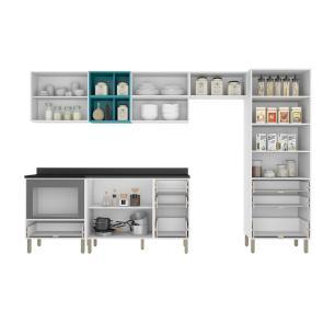Cozinha Completa 10 peças Americana Multimóveis 5658MF Branco/Grafite