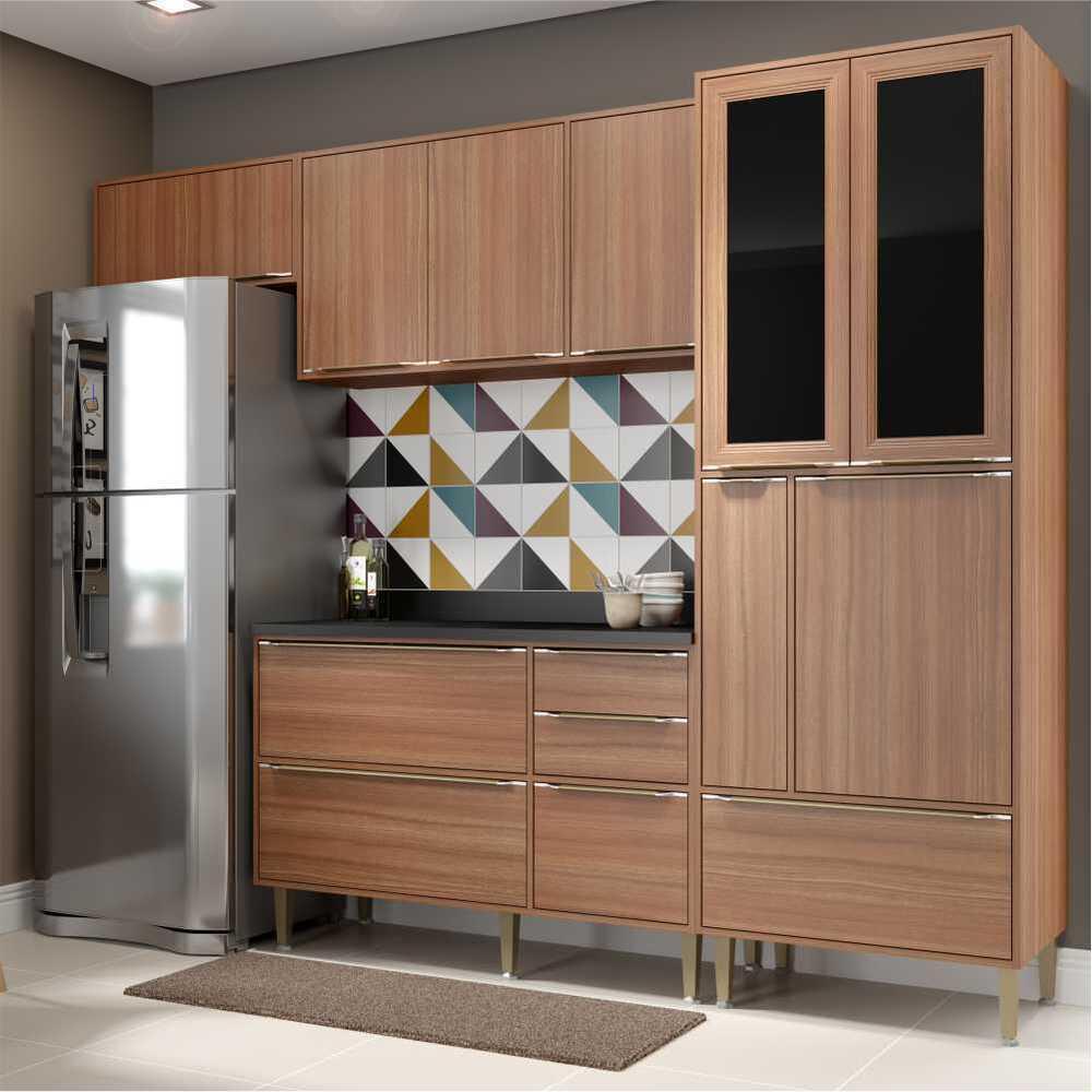 Cozinha Completa Multimóveis com 5 peças Calábria 5453 Nogueira