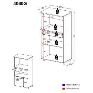Balcão Multimóveis Multiuso Forno e Microondas Argila REF. 4060G 2 Portas e 1 Gaveta