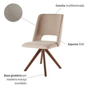 Conjunto de 02 Cadeiras de Jantar Giratória Parma Bege Escuro 4613 Base Madeira cor Imbuia