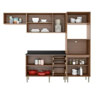 Cozinha Completa Multimóveis com 5 peças Calábria 5457 Nogueira