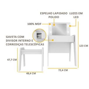 Penteadeira com luzes de LED, espelho, banco e 1 gaveta c/ organizador Doçura Multimóveis Branco