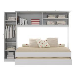 Bicama com Guarda-Roupa/Roupeiro para colchão 88 x 188 cm Multimóveis Branca