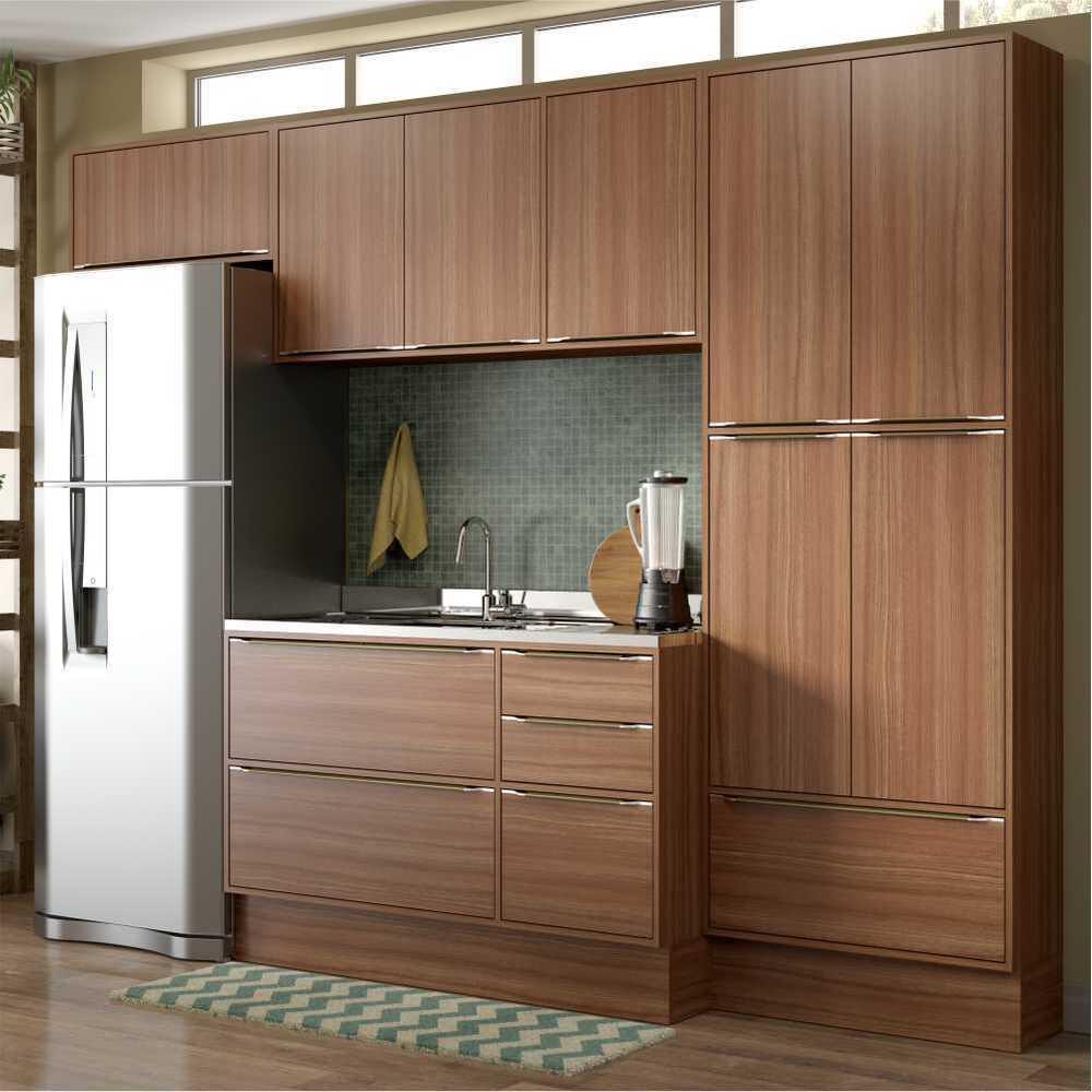 Cozinha Completa Multimóveis com 6 peças Calábria 5458R Nogueira