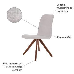 Conjunto de 04 Cadeiras de Jantar Giratória Bari Bege Claro 4612 Base Madeira cor Imbuia