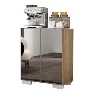 Aparador Cantinho do Café com Espelho e Pés Quadrados 2 Portas Multimóveis Rustic/Branco