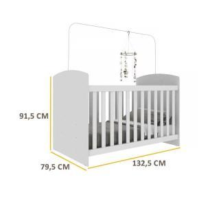 Berço Multimóveis com Grade Soft Branco para Colchão 130cmx70cm 0515PA