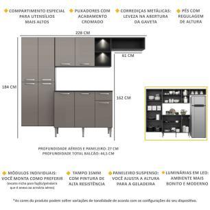 Cozinha Compacta com 2 Leds Armário e Balcão com Tampo Pequim Sun Multimóveis Preta/Lacca Fumê