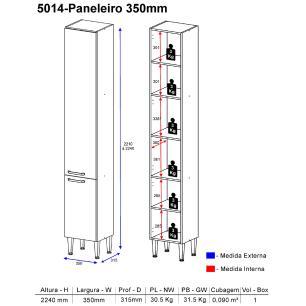 Paneleiro Multimóveis Toscana 5014 Argila/Branco c/2 portas