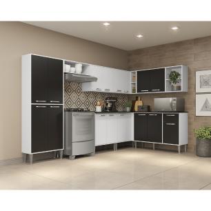 Cozinha Completa com Armário e Balcão com Tampo 8 peças Xangai Soul Multimóveis Branca/Preta