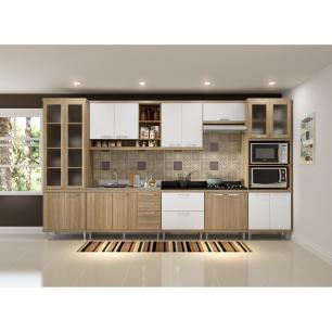 Cozinha Completa Multimóveis com 8 peças Sicília 5806 Argila/Branco