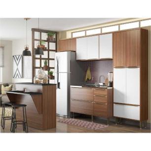 Cozinha Completa Multimóveis com 5 peças Calábria 5464 Nogueira/Branco