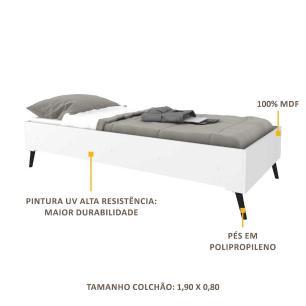 Cama Solteiro Montessoriana p/ colchão 88 x 188 cm c/ Pé Retrô Vintage Prime Multimóveis Bco/Pto