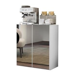 Aparador Cantinho do Café com Espelho 2 Portas Multimóveis Branco