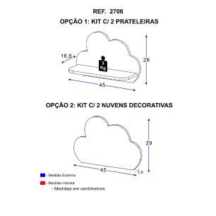 Kit Prateleiras Multimóveis Nuvem 100% MDF Rosa REF.2706