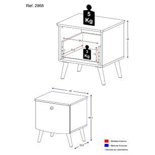 Mesa de Cabeceira 100% MDF com 1 gaveta Doçura Multimóveis Branco/Cinza/Branco