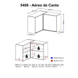 Armário Aéreo de Canto Multimóveis Calábria 5408 Nogueira