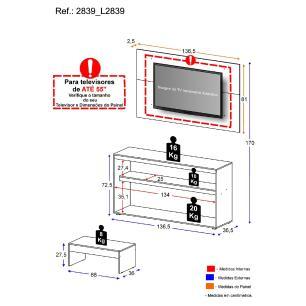 Rack com painel para TV até 50 polegadas e mesa de centro Bragança Multimóveis Preto