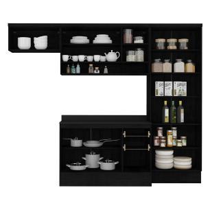 Cozinha Completa Multimóveis Suíça 5195ML com Balcão 10 Portas 2 Gavetas Preto
