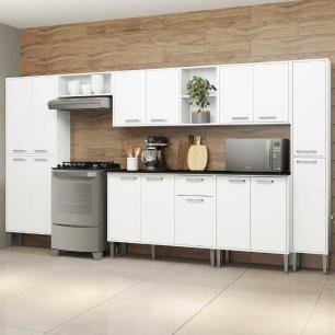 Cozinha Completa Compacta c/ Armário e Balcão c/ Tampo 7 pçs Xangai Blues Multimóveis Branca