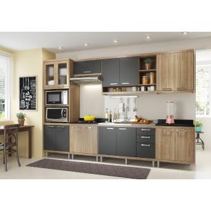 Cozinha Compacta com Pia Inox 8 peças Sicília Multimóveis MP3222 Madeirado/Grafite