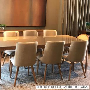 Cadeira de Jantar Fixa Arrezo Bege Claro 4612 Base Madeira cor Imbuia