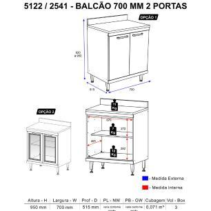 Balcão Multimóveis Sicília Duplo 70cm 2541 Argila/Branco