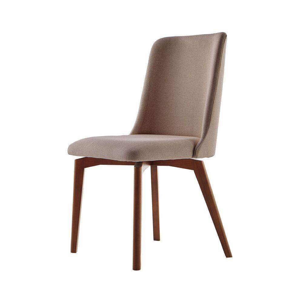 Cadeira de Jantar Fixa Arrezo Café com Leite 1777 Base Madeira cor Imbuia