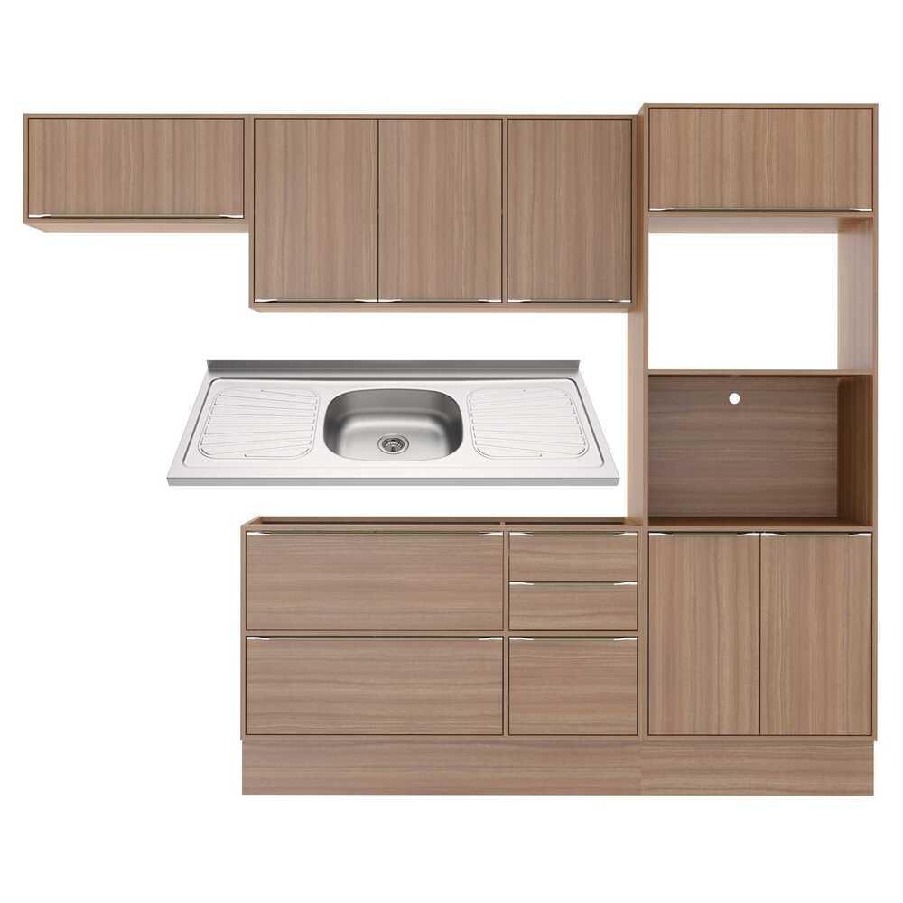 Cozinha Compacta com Pia Inox e Rodapé 7 peças Calábria Multimóveis MP3203 Madeirado